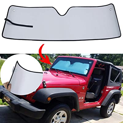 MOEBULB Latest Upgrade Front Windshield Sunshade Sun Visor Shade Mat for 2007-2020 Jeep Wrangler JK (with 2pcs Suction Cups pad): Automotive