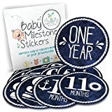 """Baby Monthly Stickers - Milestone Month Sticker for Onesie or Scrapbook - Twelve 4"""" Premium Sticker for Your Boy or Girl First Year Growth - Great Shower Registry Gift for Expecting Mothers"""