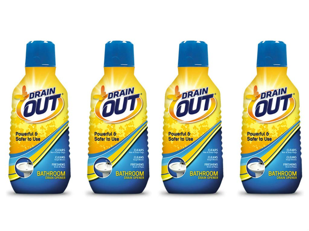 Drain OUT Powerful and Safer to Use Bathroom Clog Opener, 16 Fl. Oz. Bottle 4-Pack, by Drain OUT