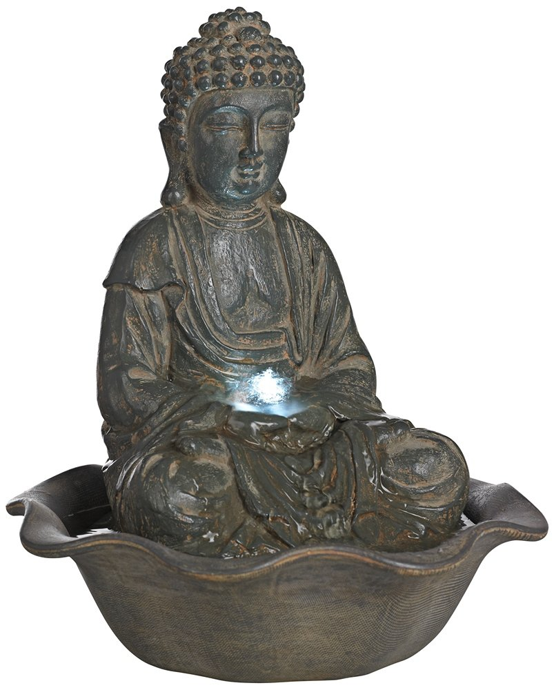 Amazon.com: Indoor-Outdoor LED Seated Buddha Water Fountain: Home ...