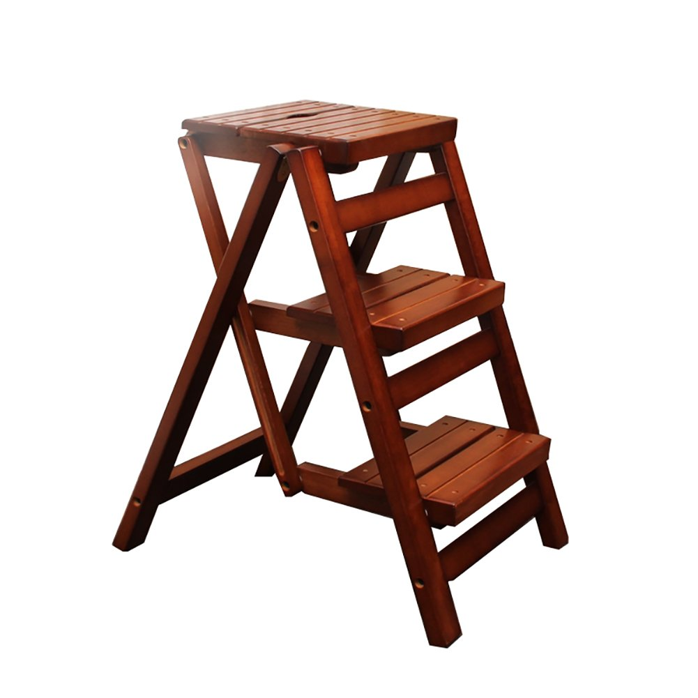 YD-Step stool Rubber Wood 3 Step Stool Ladder Adults Folding Stepladder Home Kitchen Foldable Small Stool Bench Portable Fold Up Footstool /&