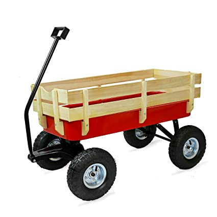 Garden Yard Cart Wagon With Wooden Sides 300 Lbs Load Capacity