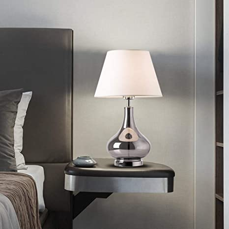 Lamps For Living Room Dawn Collection Modern 24 Smoke Gray Glass Bedside Lamp Table Lamps For Living Room With Beige Drum Shade And Chrome Base For