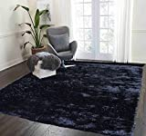Shag Shaggy Fuzzy Fluffy Furry Soft Modern Contemporary Decorative Carpet Area Rug Thick Plush Soft Pile Living Room Bedroom 5×7 Large Black Charcoal Two Tone Color Sale Cheap Discount ( Aroma Black ) Review