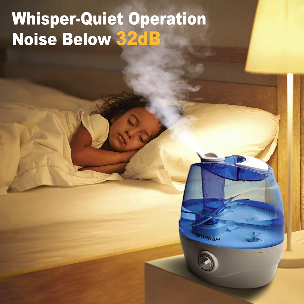 OTHWAY Cool Mist Humidifier 2.2 Liters 0.58 Gallon Ultrasonic Quiet Humidification, Auto Shut Off, 360 Nozzle, Adjustable Mist, Filterless Humidifier for Bedroom Living Room Office Nursery Room