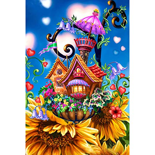 Amaping DIY 5D Diamond Painting by Number Kits Crystal Rhinestone Beads Pasted Embroidery Cross Stitch Kits Embellishment Arts Craft for Home Wall Hanging Decor (Flower Cartoon World) ()