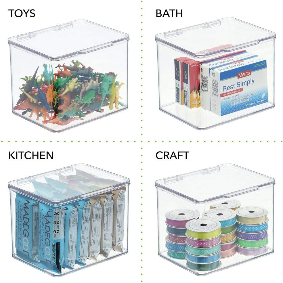 4 Pack Sticky Notes Organizer for Office Supplies Clear 5 High Memo Pads mDesign Stackable Plastic Storage Bin Box with Hinged Lid Dry Erase Markers Paperclips Highlighters