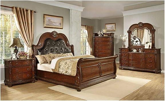 Amazon Com Thaweesuk Shop Brown Cherry 5 Pcs King Size Eastern Luxurious Bedroom Set Old World Europe Bed Dresser Mirror Night Stands Chest New Hardwoods Veneers Furniture Decor