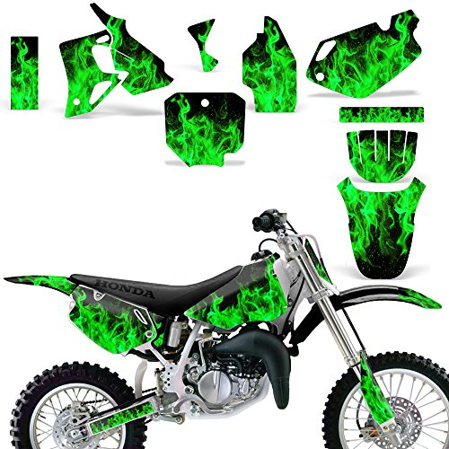 Honda CR 80 1996-2002 Graphic Kit MX Stickers Dirt Pit Bike Decals CR80 FLAMES GREEN - Custom Pit Bike Graphics Kit