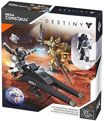 Mega Construx Mega Bloks Destiny S-34 Ravensteel Sparrow Exclusive Warlock Dead Orbit, Fallen Captain Figure Set Model # FFB 57 (Set Figure Fallen)