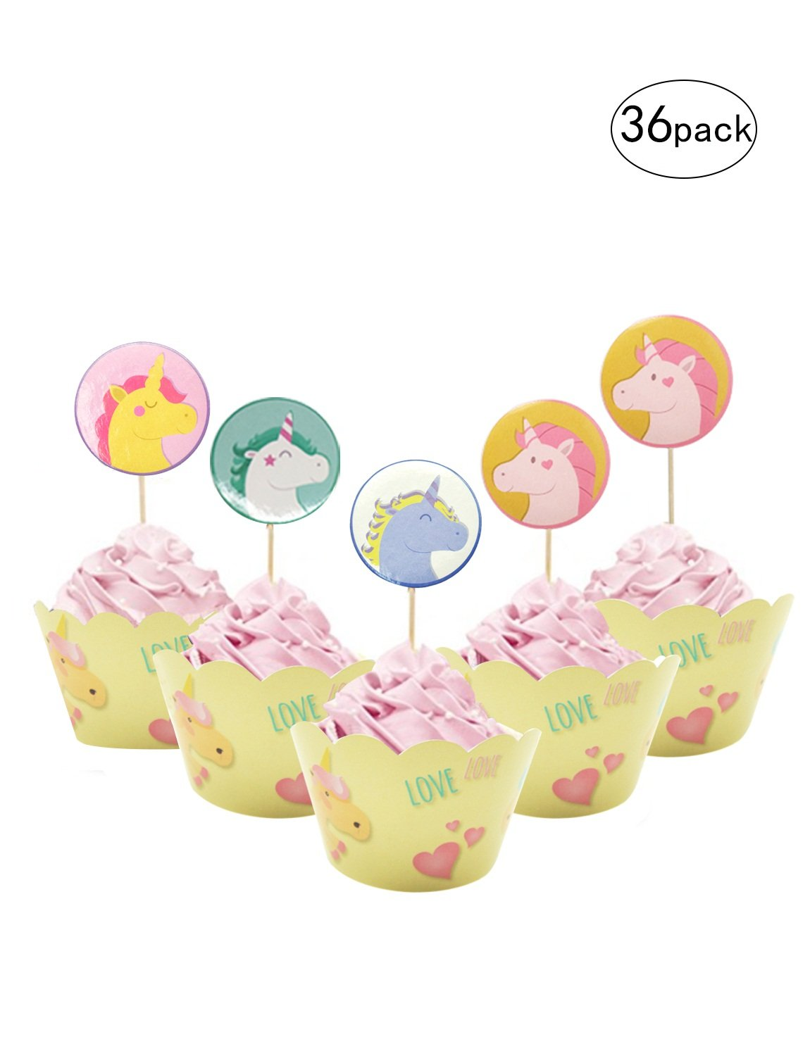 BTSD-home Unicorn Cupcake Toppers and Wrappers Kids Party Cake Decorations Set of 36