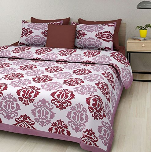 Pure Cotton Luxury King Size Mandala Bed Sheet Set with 2 Pillow Cases,Best Quality For Home, Hotel, Wrinkle, Fade, Stain Resistant, Hypoallergenic (White Maroon Colors (Best Costume Ballot)