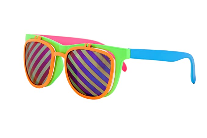 6d2893206f Image Unavailable. Image not available for. Color  Flip Up Neon Hipster  Costume Glasses ...