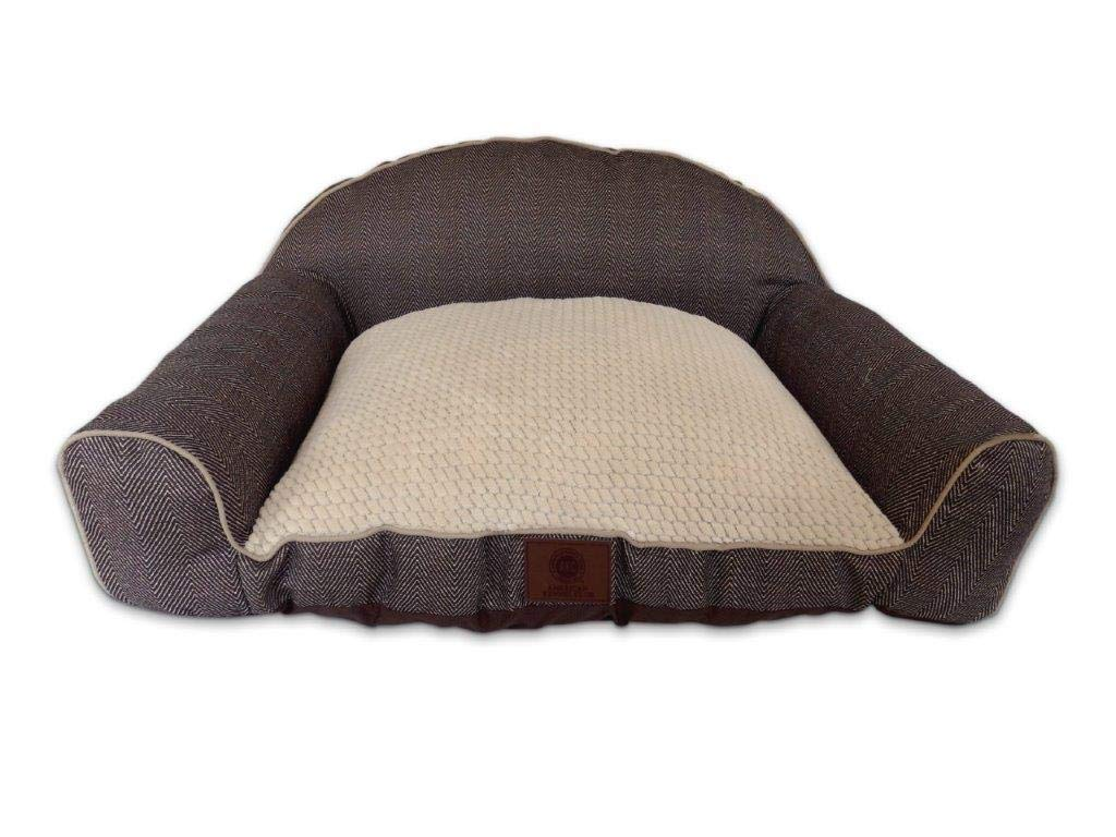 American Kennel Club AKC Premium Memory Foam Herringbone High Back Sofa Couch Pet Dog Bed w/Bolster Sides, Ultra Soft Pixel Sleep Surface, Brown