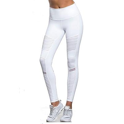 HOUBL Women Elastic Waistband Yoga Pants Mesh Panels High Waist Moto Leggings Sport