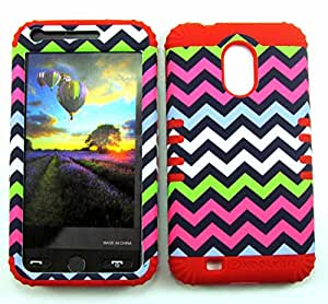 SHOCKPROOF HYBRID CELL PHONE COVER PROTECTOR FACEPLATE HARD CASE AND RED SKIN WITH STYLUS PEN. KOOL KASE ROCKER FOR SAMSUNG GALAXY S II S2 EPIC 4G TOUCH D710 CHEVRON RD-TE604