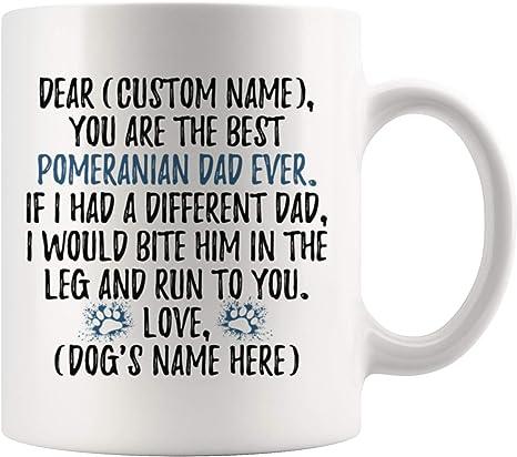 Pompom Dog Men Gifts Personalized Pomeranian Dog Dad Travel Mug Pom Dog Daddy I Love Tumbleweed Dog Pomeranian Dog Owner Present Gift