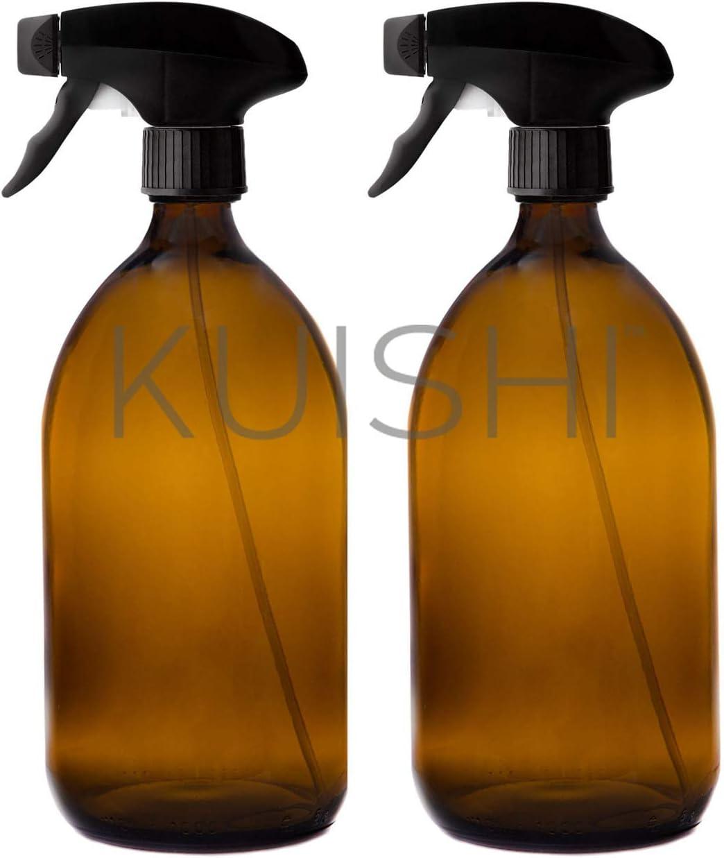 Pulizia e Giardinaggio Spruzzino Nebulizzatore per Piante 250 ml, Confezione da 2 Bottiglie di Vetro Riciclato Bottiglia Spray Vuote in Vetro Ambrato Kuishi Senza BPA