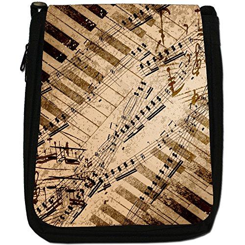 Medium Piano amp; Shoulder Music Bag Keys Canvas Notes Vintage Grunge Size Black a1tvqzCw