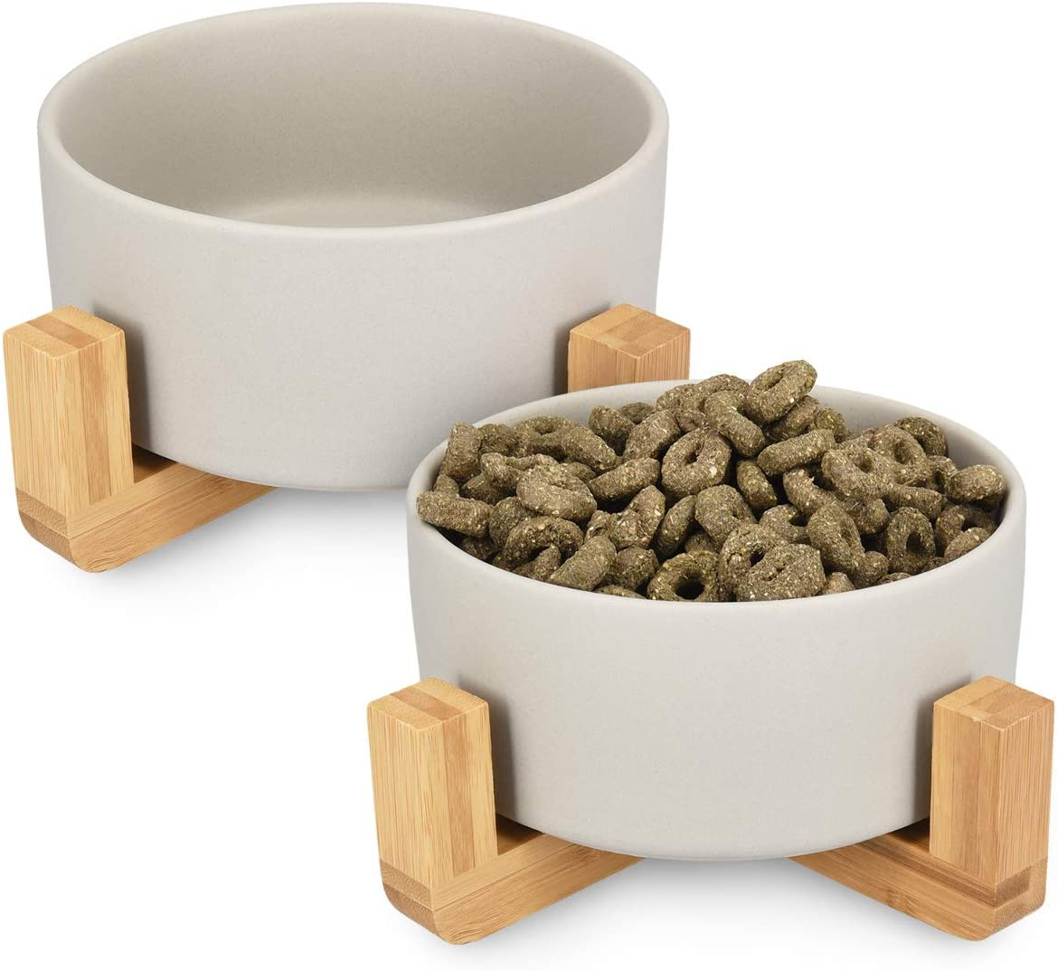 Navaris Ceramic Raised Pet Bowls with Bamboo Stands - Modern Food and Water Bowl Set for Cats and Small Dogs with Anti-Slip Elevated Wooden Stand