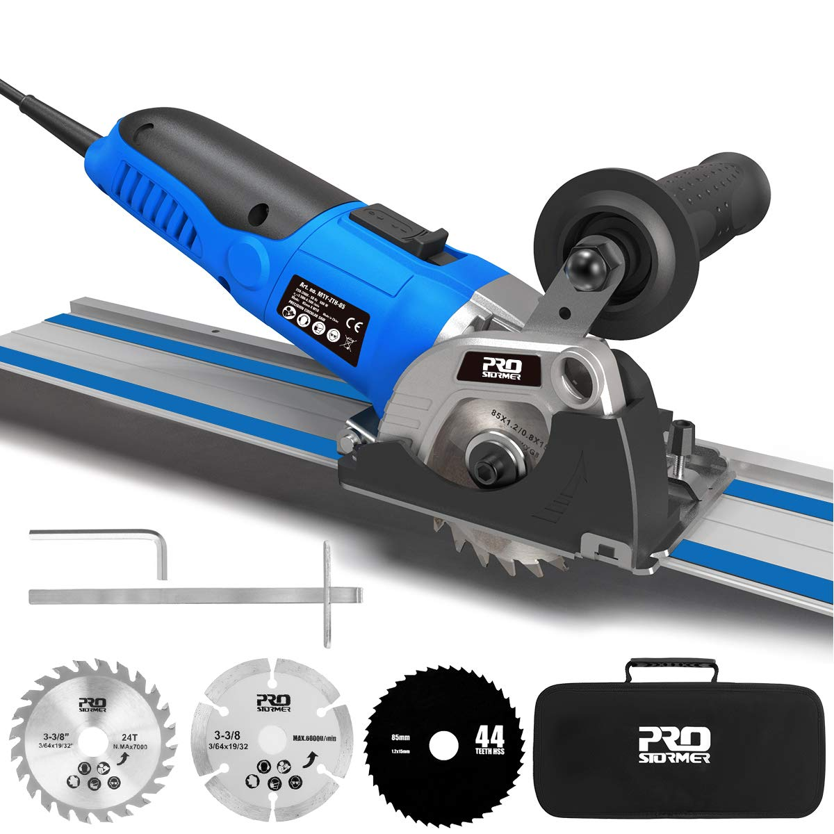 Mini Circular Saw Variable Speed, PROSTORMER 3-3/8 Compact Circular Saw with 2 x15 Guide Rails, Plunge Cut Track Saw with 3 Blades for Cutting Wood, Soft Metal, Tile and Plastic