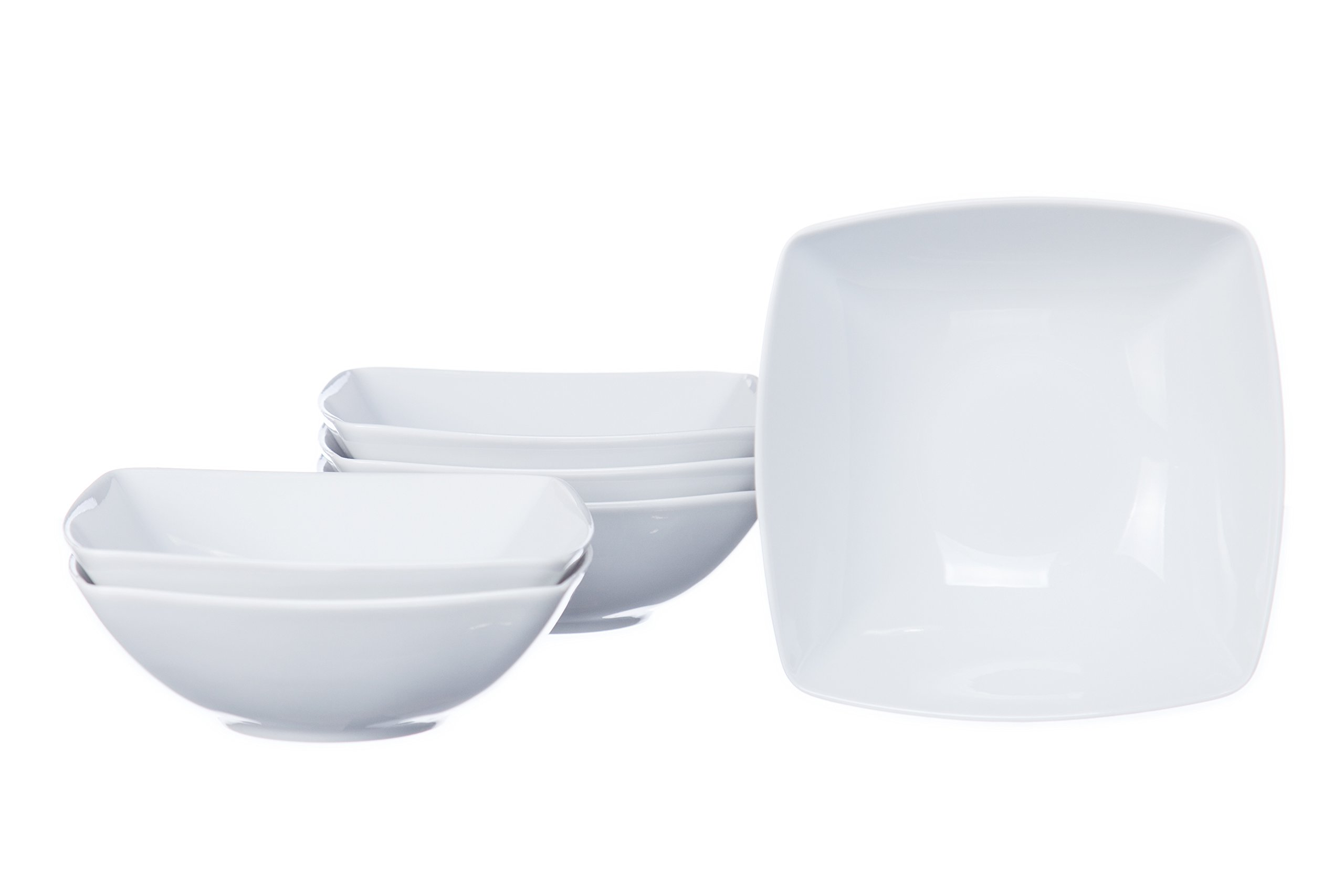 6-Piece Square Cereal/Soup/Salad Bowls, White Porcelain, Restaurant&Hotel Quality