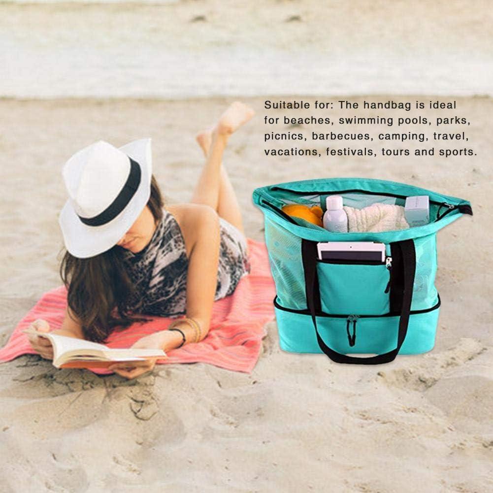 Bolsa de Playa port/átil de Malla Bolsa de Picnic Multifuncional Aislamiento de Playa Bolsa de Almacenamiento de Lona de Gran Capacidad con Cremallera para Viajes de Playa Camping