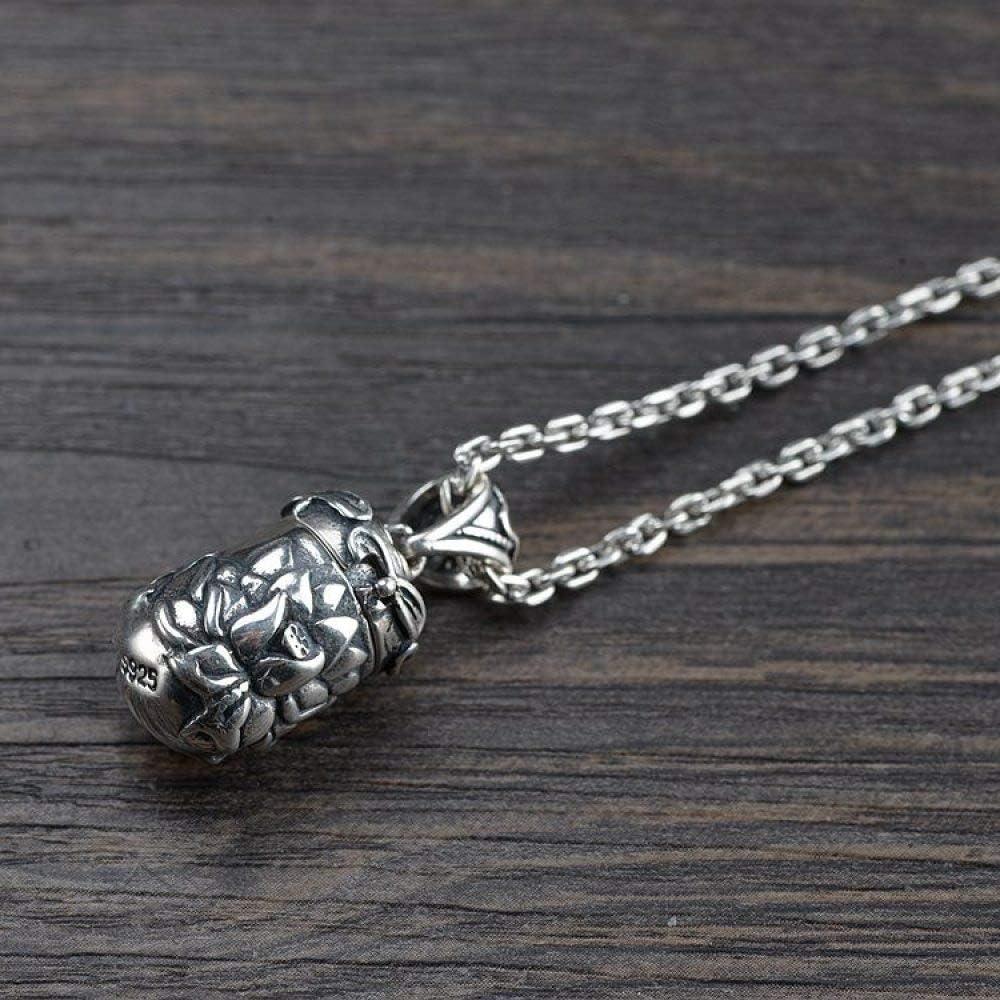 S925 Silver Retro Necklace Gawu Box MenS Women Open Buddhist Lotus Creative Unique Personality Gift Unisex