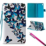 Xperia E5 Case, Firefish [Kickstand] Flip Folio Wallet Cover Shock Resistance Protective Shell with Cards Slots Magnetic Closure for Sony Xperia E5-Butterflies