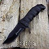 SPRING-ASSIST Portable Tactical Folding Pocket Knife USMC Marines Black Serrated Tactical EDC