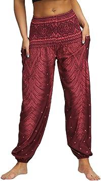 Mujer Pantalones Hippies Tailandeses Estampado Verano Cintura Alta Elastica Con Bolsillos Para Yoga Casualrojotamano Libre Amazon Es Deportes Y Aire Libre