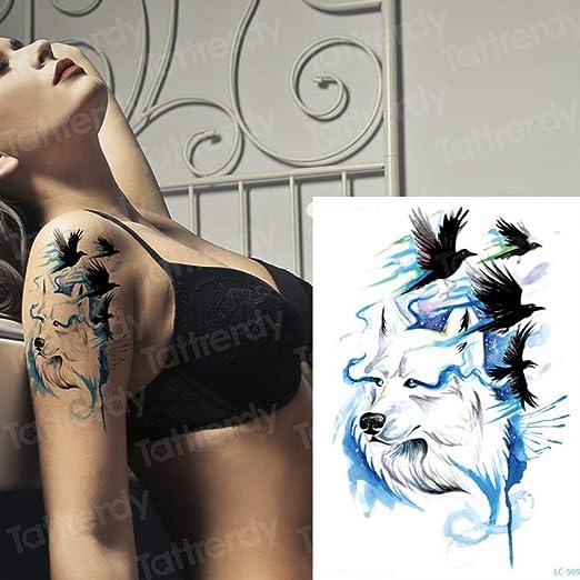 adgkitb 3 Piezas Tatuaje Temporal Lobo pájaros Negros Animales ...