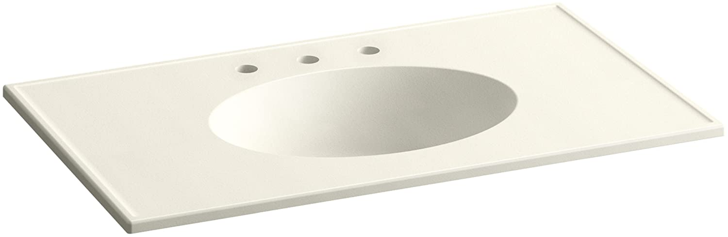 KOHLER K-2798-8-G81 Ceramic//Impressions 37-Inch Oval Vanity-Top Bathroom Sink with 8-Inch Centerset Faucet Holes White Impressions