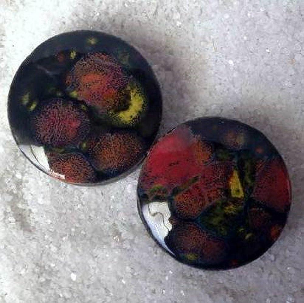 Pair Masquerade Glass Essential Oil Ear Plugs Organic Handmade Ceramic double-flared body jewelry