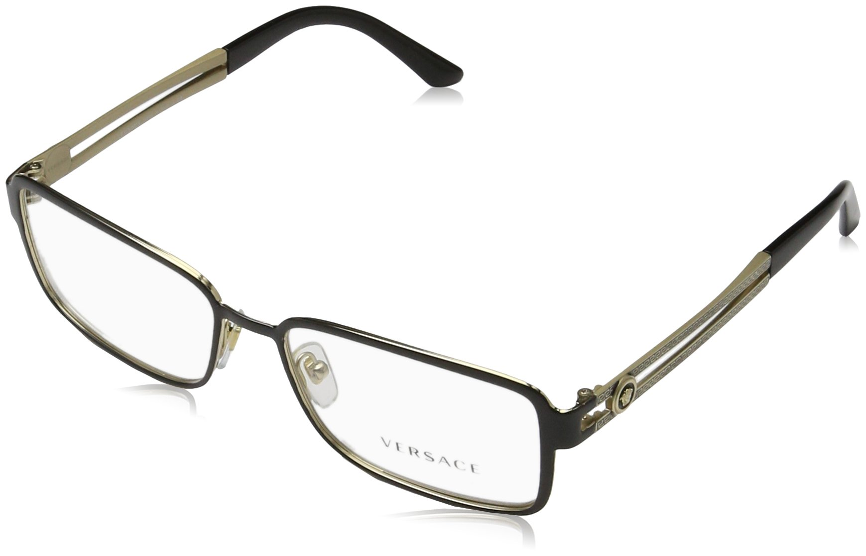 Versace VE1236 Eyeglass Frames 1371-55 - Black/pale Gold VE1236-1371-55 by Versace