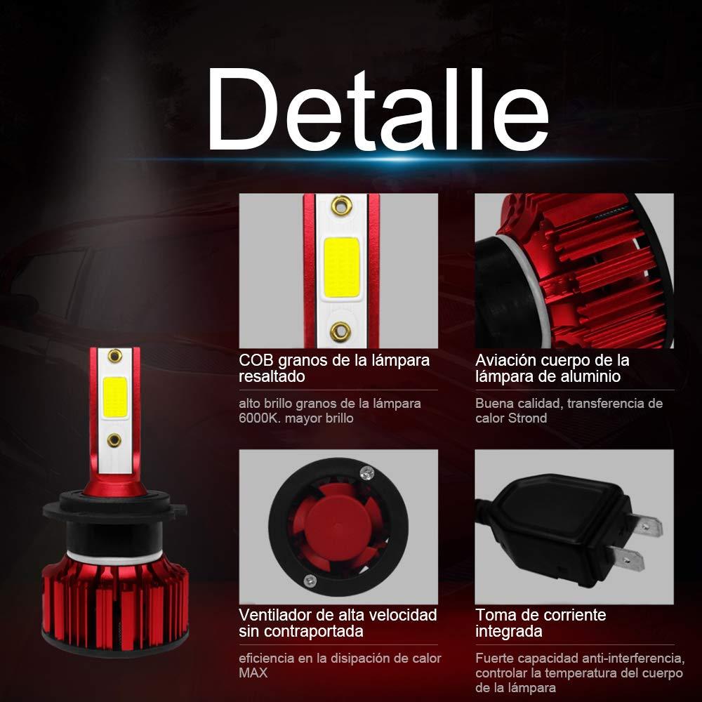 Impermeable IP68 Rovtop Bombilla LED Coche Ventilador Silencioso Interior Reemplazo de Hal/ógeno 9V-36V H7 2 Pcs Bombillas para Faros LED de Coche 8000LM