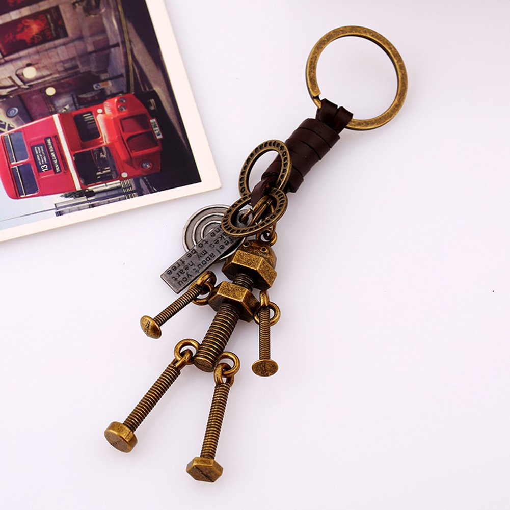 Gotoole Men Punk Style Keychain Bike Robot Deer Pendant Cow Leather Retro Bag Charm size Robot by Gotoole (Image #5)