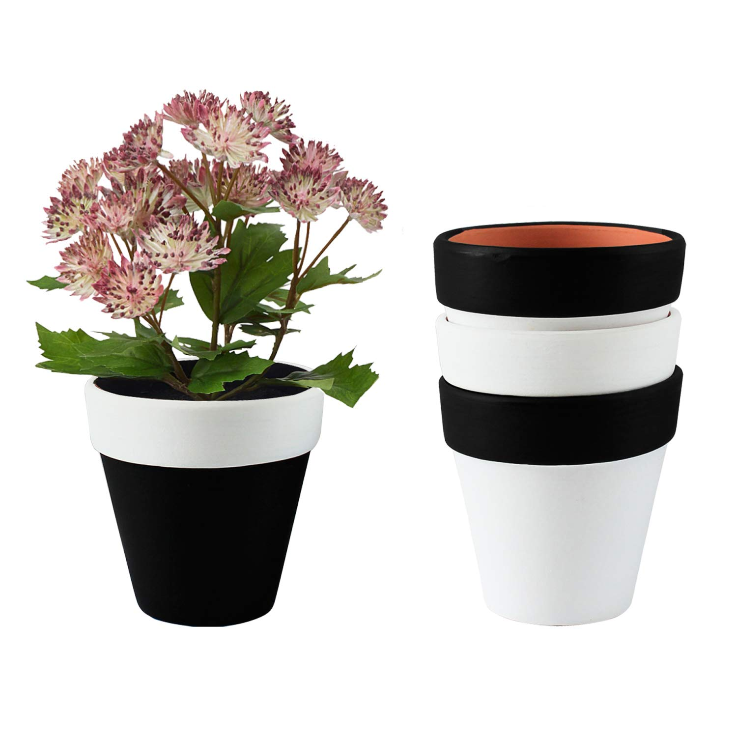 Plant Pots, Rosoli 3.55 Inch Clay Planters Set of 4 Flower Plant Pots Indoor Gardening Pots with Drainage Hole for Succulents, Flowers, African Violets, Cactus, Herbs and All House Plants