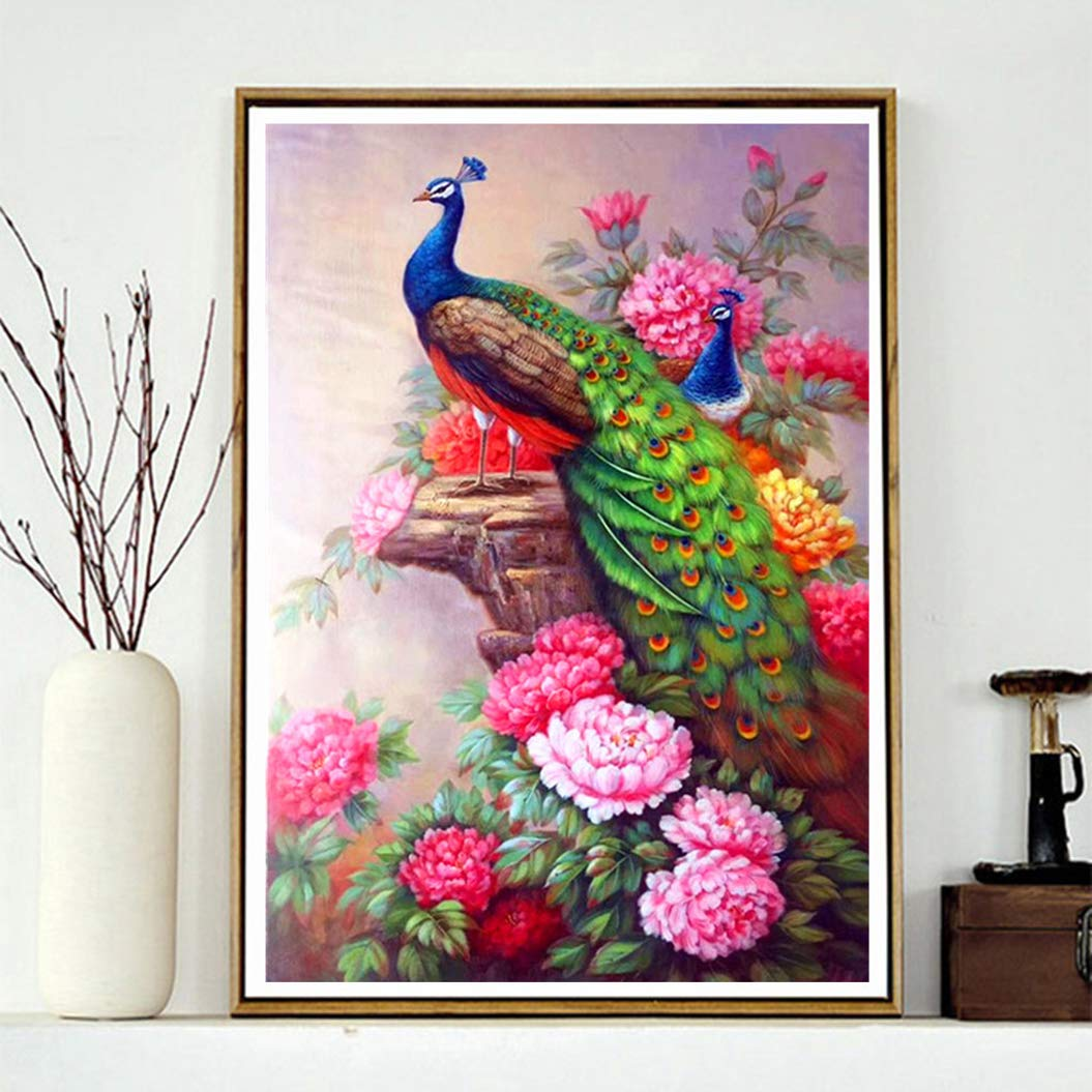Diamond Paintings WisLotife Full Drill Round Rhinestone Crystal Embroidery Pictures for Home Wall Decoration Peonies Around Peacock 16x 20