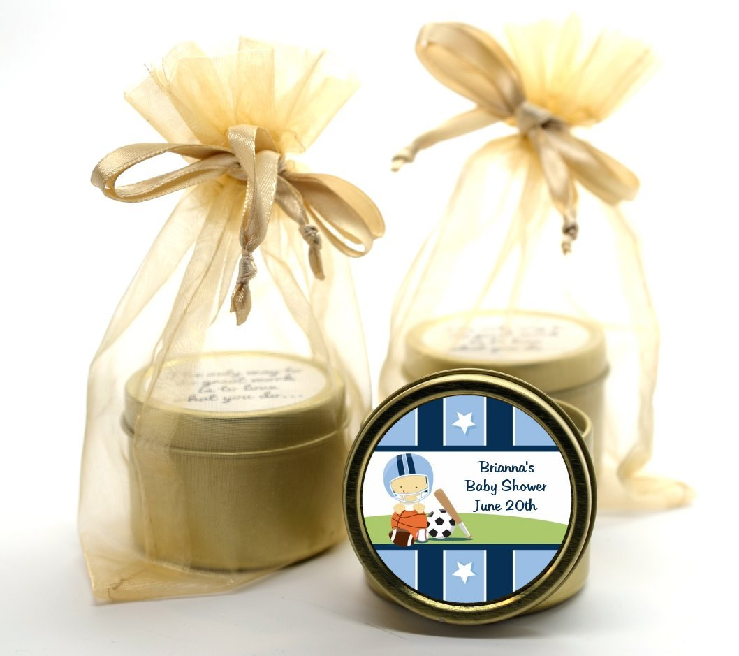 Amazon.com: Sports Baby Asian - Baby Shower Gold Tin Candle Favors: Health  & Personal Care