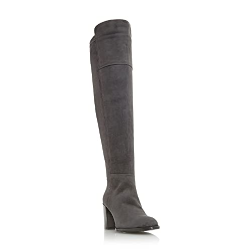 Dune Womens Grey Suede Tommy On The Knee Boot Size UK 6 EU 39