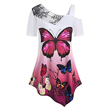 c5dbaf5ced7 TUSANG Women s Tops Short Sleeve Butterfly Print Plus Size Lace Panel  T-Shirt Blouse Irregular Hem Loose Fit Tunic Tops at Amazon Women s  Clothing store