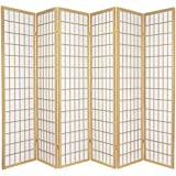 Oriental Furniture 6 ft. Tall Window Pane Shoji Screen - Natural - 6 Panels