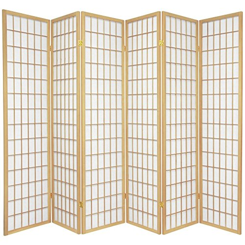 Oriental Furniture 6 ft. Tall Window Pane Shoji Screen - Natural - 6 Panels by ORIENTAL Furniture