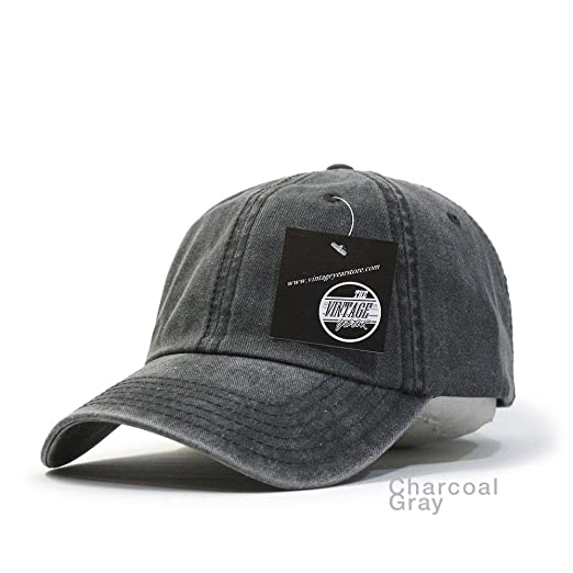 0f90b092a39e9 Vintage Year Plain Washed Cotton Adjustable 6 Panel Dad Hat Baseball Cap  (Charcoal Gray)