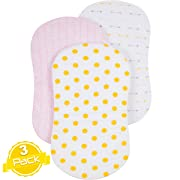 Bassinet Sheet Set | Cradle Fitted Sheets for Bassinet Mattress/Pads | Super Soft Jersey Knit Cotton | 3 Pack | 150 GSM | Gold Dots  Collection by BaeBae Goods