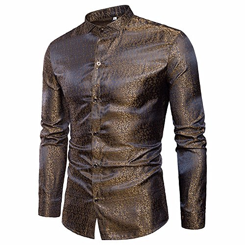 2019 Newest Hipster Mens Print Business Long Sleeve Blouse, Summer Button-Down Slim Fit T Shirt Tops (Gold, L)