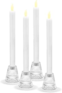 LampLust Clear Glass Candle Holders - Reversible Taper Tea Light Holder Set, 2.5
