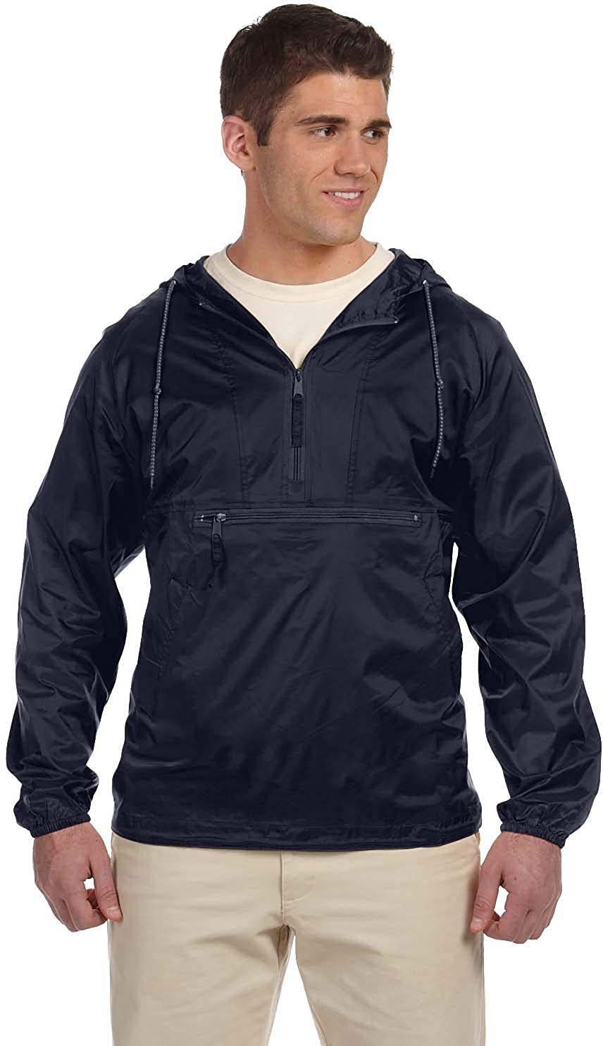 Harriton Men's Nylon Packable Pullover Hooded Jacket M750