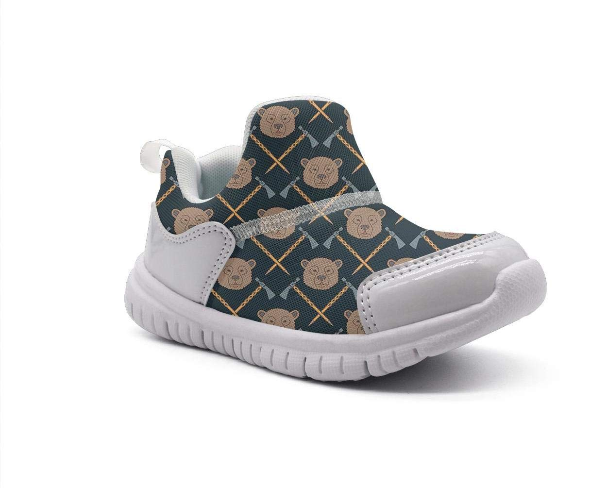 ONEYUAN Children Native American Pattern with Bears Brown Kid Casual Lightweight Sport Shoes Sneakers Running Shoes